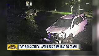 Two boys critical after bad tires lead to crash - Video
