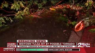 Possible tornado hits midtown Tulsa overnight - Video