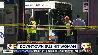 PD: Metro bus strikes pedestrian near Fountain Square, trapping her under tire