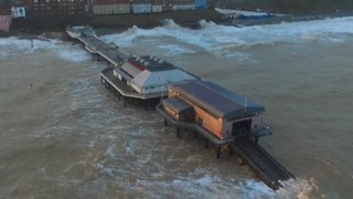 Drone Footage Captures Storm Surge in Cromer - Video