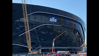 Allegiant Airlines logo going up on new Raiders stadium