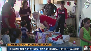 Ruskin family receives early Christmas from strangers - Video