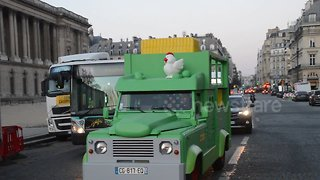 """Uber-sponsored """"toy"""" car spotted in central Paris"""