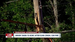 Car crashes into power pole, catches fire in Elma