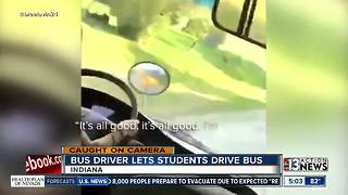 Indiana school bus driver lets kids drive bus - Video