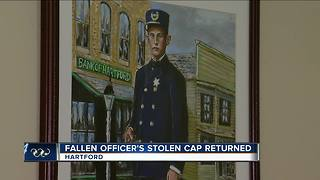 Fallen officer's stolen cap returned - Video