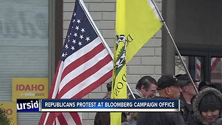 Protesters rally outside Bloomberg campaign office in Boise
