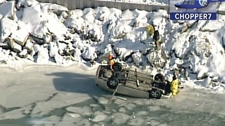 Man rescued from car after it flips onto ice - Video