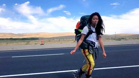 Girl rollerblades 4000 miles across the united states with nothing more than a backpack – to prove kindness in strangers does still exist
