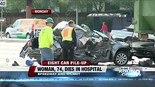 Woman dies from injuries suffered in 7-car wreck