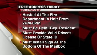 Free Address Friday at Delhi Township Fire Department