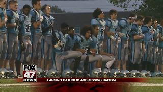 Lansing Catholic football players kneeling see some results