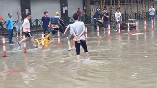 Macau Streets Filled With Rainwater After Typhoon Hato - Video
