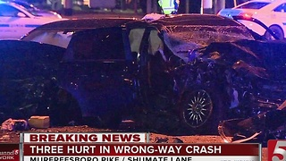 3 Hurt In Wrong-Way Crash In Nashville - Video