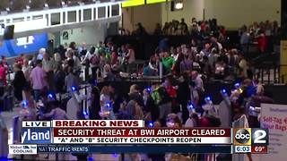 Security threat at BWI airport cleared after finding 'suspicious bag' - Video