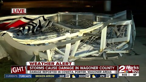 Storm and wind damage in Wagoner County