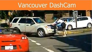 Dashcam Video Shows Driver Run a Red Light, Almost Hit Pedestrian - Video