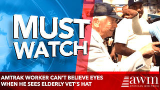 Amtrak Worker Can't Believe Eyes When He Sees Elderly Vet's Hat. - Video