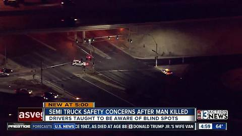 Pedestrian hit and dragged by semi truck