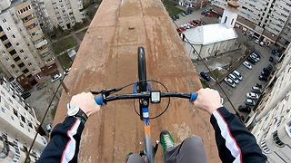 That's a wheelie high stunt – rider pulls tricks 130ft in the air
