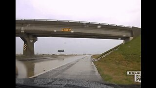 State Trooper's Dashcam Captures Car Spinning Out on Wet Oklahoma Highway