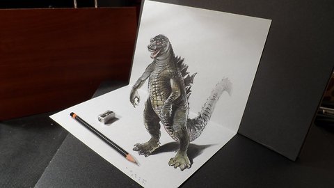 3D drawing of Godzilla