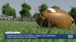 High school football practice begins