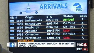 Family stranded after flight diverted mid-air