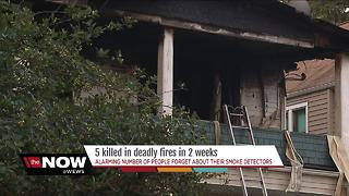 Neighbors check their smoke alarms after fifth fatal fire in Cleveland in 10 days - Video