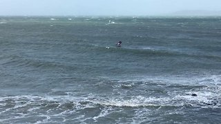 Windsurfers Brave Sea Off Dublin as Ex-Hurricane Ophelia Approaches - Video