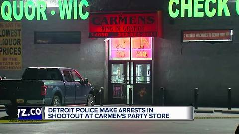 Two wounded in shootout at party store in DetroitTwo people were hurt following a shootout outside of a party store on Detroit's East Side.