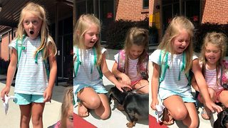 Adorable video of girls overwhelmed by puppy suprise  - Video