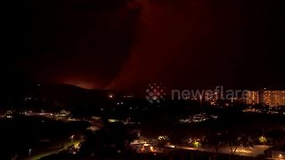 Timelapse video captures brush fires in Maui as Hurricane Lane approaches
