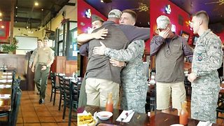 Doting dad's early 50th birthday wish comes true in emotional double armed forces surprise homecoming - Video