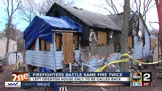 Firefighters battle same fire twice in Odenton - Video