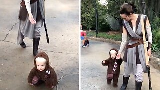 ADORABLE TWO-YEAR-OLD DRESSED AS CHEWBACCA INTERACTS WITH STAR WARS CHARACTERS AT BRAND NEW DISNEY PARK