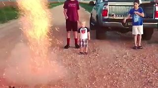 Little boy sees fireworks for the first time