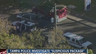 Tampa police investigate suspicious package on MLK, turned out to be bag left by TECO - Video