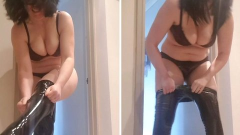 Pvc Trousers Split Over Woman's Bum After Struggling To Put Them On