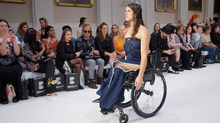 Paralympian paralysed from shooting herself with a shotgun achieves dream of walking London Fashion Week - Video