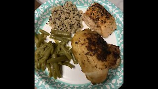 Chicken thighs, seared then baked,
