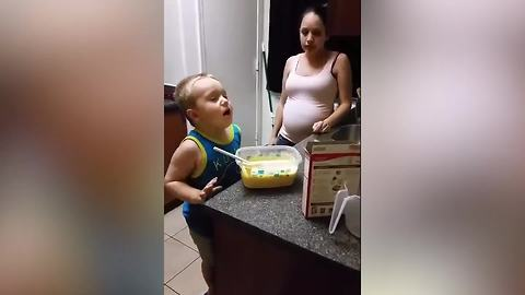 Funny Tot Boy Sneeze Into The Cupcake Batter