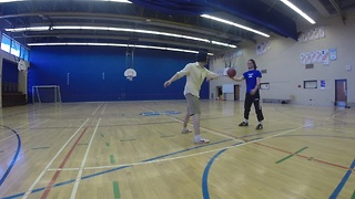 Insane 360 degree basketball kick shot
