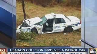 Head on collision leaves Carroll County sheriff's deputy injured