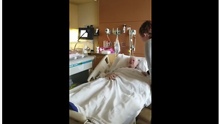 Dying man meets his newborn great-granddaughter - Video