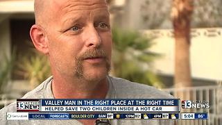 Las Vegas valley man saves two children inside a hot car - Video