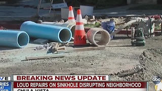 Loud repairs on sinkhole disrupting neighborhood - Video