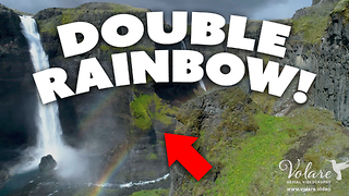 Double Rainbow over a Double Waterfall! (Iceland)