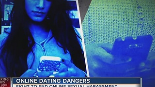 Woman fighting against harassment on dating sites
