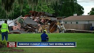 Sinkhole cleanup could take several months in Land O' Lakes - Video